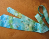 Ocean blue and moss green silk necktie Hand painted silk tie. Hearts tie. Silver contours. Ready to ship