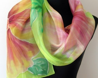 Sunny Summer Scarf Hand Painted Floral Silk Scarf. Tangerine, Apple Green, Orange, Green Yellow, Lemon, Lime, Orchid Floral Painted Scarf