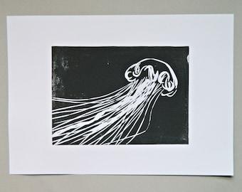 Charcoal Jellyfish Print. Tropical Ocean Art. Block Print. Marine biology Print. Under Sea Wall Art. Oceanographer Gift. Mariana Trench Art