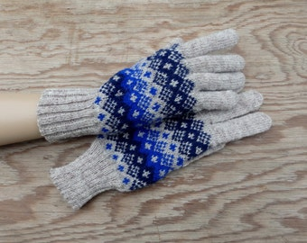 Gloves, hand knitted fair isle wool gloves with fingers, knit colorful grey adult winter gloves, nordic ethnic hand warmers, accessories