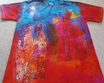 Collage style shirt created with a variety of processes, discharging and screen printing, procion dyes, fabric printing ink, hearts, figures