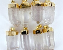10% off Halloween Sale Crystal Point Quartz Pendant with Gold Plated WHOLESALE PRICING S122B2