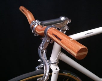 wooden riser bicycle handlebar - cherry + maple wood