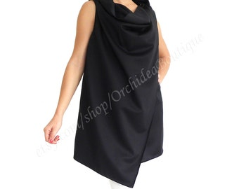 FAVOURITE wrap sleeveless jacket top vest tunic multi way convertible black wool blouse women extravagant fashion