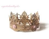 Newborn Gold Crown, Baby Crown, Girl Crown, Dainty Lace Crown, Photo Prop, Baby Prop, Newborn Prop, Princess Crown, Queen Crown