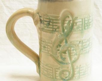 Stoneware music script 16oz coffee mug handmade ceramic 16B022
