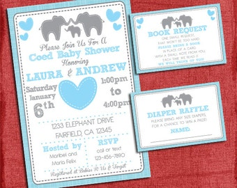 Elephant Baby Shower Invitation Theme Coed Couples Baby Shower Set -Invite + Diaper Raffle Ticket + Book Request - I design you print