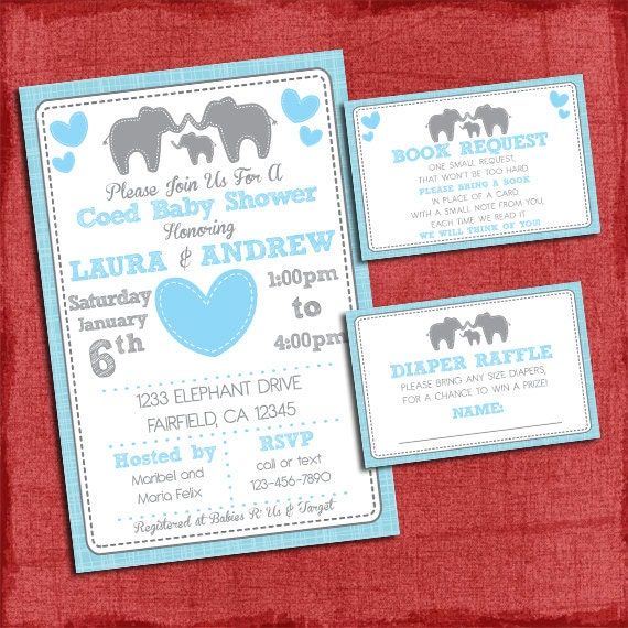 Elephant baby shower invitation theme coed couples baby shower set il570xn filmwisefo