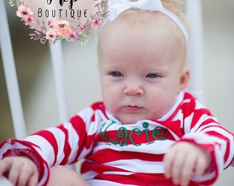 Girl's Long Sleeve Bodysuit - Red Bodysuit - Custom Monogram bodysuit - Monogrammed onesie - Baby shower gift