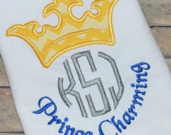 Prince Charming - Disney Vacation Shirt - Boy's Themed birthday party shirt - Custom Monogram shirt
