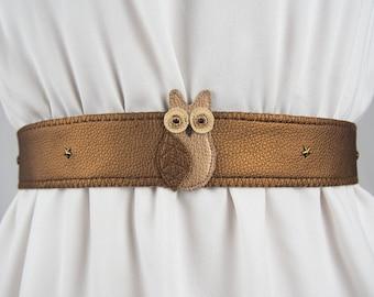 Owl Belt (Metallic) ~ Handmade ~ Only 1 Left!