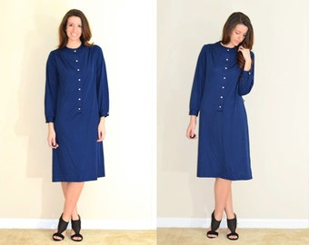 Vintage Long Sleeve Navy Dress with Starburst Rhinestone Buttons