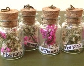 Little Pressed Flowers with Customizable Message in Glass Corked Bottle Charm