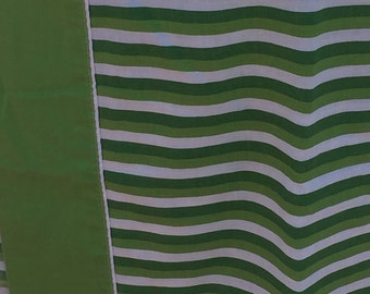 Vintage twin flat sheet with dark green, light green, and white stripes, retro stripes, green stripes, retro sheet,