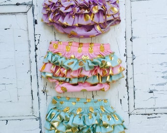 Baby Bloomers Gold Polka Dot Ruffle Diaper Cover You Choose Color