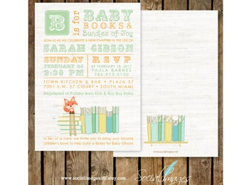 BOOK Themed BABY Shower Gender Neutral INVITATION Printed or Digital/Printable File