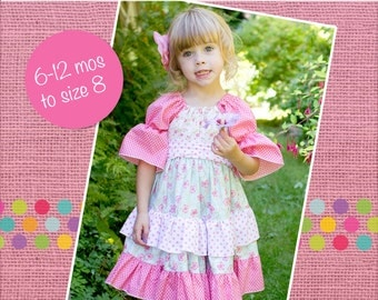 Joy's lace twirly dress PDF Pattern size 6 months to size 8