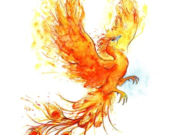 Giclee Print: Fiery Phoenix (Watercolour painting)
