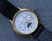 Vintage quartz watch triple calendar moonphase watch