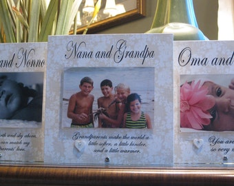 Oma and Opa Frame (SELECT ANY GRANDPARENTS' Names), Personalized Picture Frame, Saying Choices, 4 x 6 Photo, Ceramic Heart with crystal