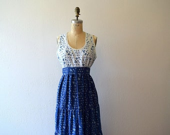 1970s maxi sundress . vintage 70s blue and white dress