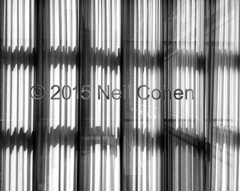 Hanging curtains interior view Art Institute of Chicago archival black and white inkjet photograph