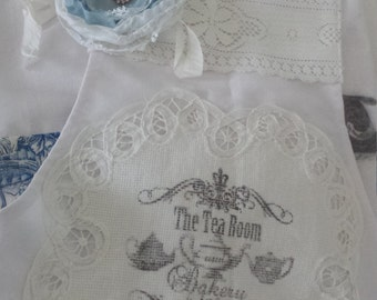 Shabby Chic Tea Room and Bakery Blue and White Toile and Lace Apron