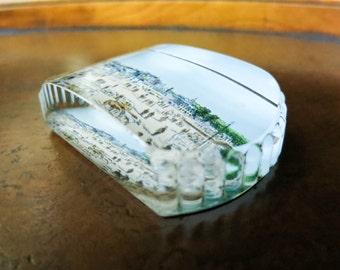 Antique Glass Paperweight Souvenir of  Scotland - Beach Theme - Desk Decor - Blue Decor - Gift for Her, Coworker, Teacher - Stocking Stuffer
