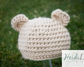 SALE! New 3-6 months Baby Bear Hat Tan Crochet Great Photo Prop or Gift