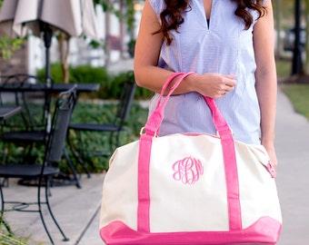 Canvas Weekender Bag - Women's Weekender Bag - Monogram Bag - Initials Canvas Bag - Women's Travel Bag - Women's Initials Tote - Gift Idea