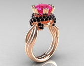 Classic 14K Rose Gold 3.0 Ct Pink Sapphire Black Diamond Knot Engagement Ring R390-14KRGBDPS