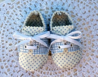 White and Blue Plaid Baby Boy Oxfords, Three to Six Month