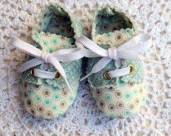 Baby Boy Oxfords in Ivory and Aqua, 3 to 6 Months
