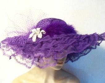 Womens Purple Hat - Victorian Tea Party Hat - Garden Party Hat