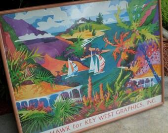 Vintage Graphic/Key West/Print/Water Colors/Artist BEN HAWKS/Tropicana Art/Ready to Hang/