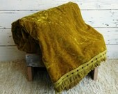 Mid Century Chartreuse Crushed Velvet Bedspread With Matching Fringe - 1970's Mod Bedding, Bed Linens, Retro Bed Covers, Regency Chartreuse