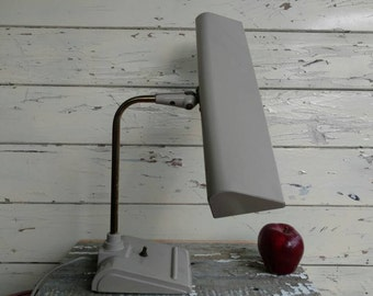 Mid Century Working Sightmaster Desk Lamp in Taupe - Vintage Atomic Industrial Dresser Lighting, Retro Decor, Working Vintage Desk Light