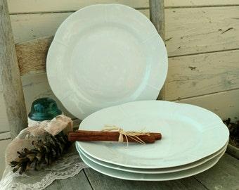 Vintage White China Plate Set by Tirschenreuth - Solid White Bavarian China Plate Set / 4, White Kitchen + Simplistic China, Modern Vintage