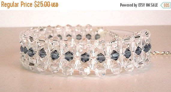 Clearance Sale Crystal Bracelet -  right angle weave -  lobster claw clasp