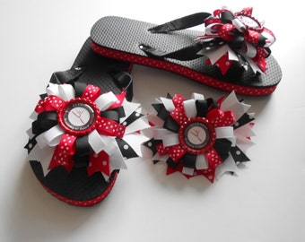 Dance Cheer Gymnastics Team Boutique flip flops and matching hair bow Customize to your team name colors and logo