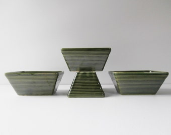 Mid Century Modern Planters, Mission Pottery Collection, Art Deco Display of Small Planters, Green USA Pottery