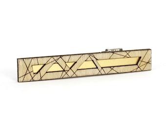 HATHOR | modern tie bar, laser cut wood and brass tie bar