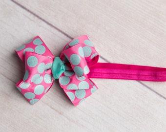 Newborn hair bow and headband, Hot pink and teal, Newborn Photo Prop, Baby girl headband, hot pink with aqua polka dots on  hot pink elastic