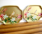 Gold Metal Asian Trays, Chinoiserie Chic, Vintage Floral Aluminum Vanity Trays, Elite Trays England, Hollywood Regency Decor