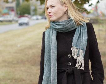 Handwoven scarf women wool autumn fashion emerald