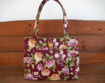 Handbag Purse Fabric Bag Accessories Women Handbag Pleated Bag Large Shoulder Bag Burgundy with Lilac, Gold Hydrangea Flower print