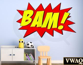 Comic Book Wall Decal Bam Sound Effect Wall Art Superhero Vinyl Wall Decal Home Decor Peel And Stick Sticker VWAQ-CB1