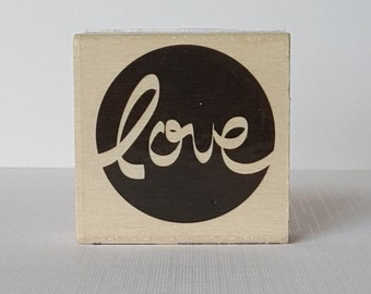 Love Wooden Mounted Rubber Stamping Block DIY cards, scrapbooking, tags for Valentines, Invitations, Greeting Cards,