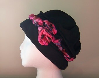 Women's Chemotherapy Turban in Black with Pink and Grey Headband, Gift for Cancer Patient, donation to Cancer Society, Ready to Ship
