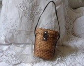 Antique French Vichy Baths water curist glass souvenir in straw wicker basket w leather handle, thermalism spa cure engraved graduated glass